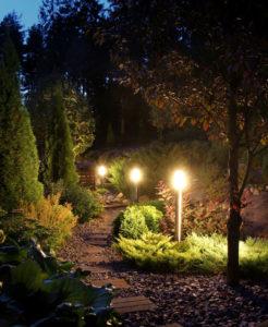 garden path after landscape light installation